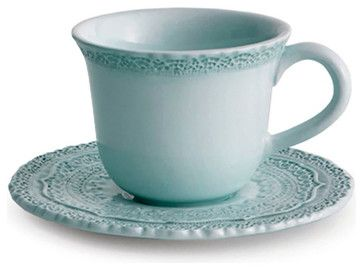 Finezza Blue Cup & Saucer - transitional - Mugs - Bliss Home & Design