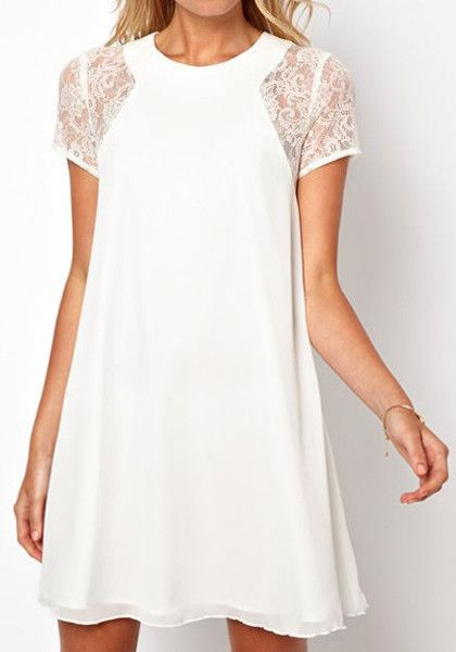 Lace Chiffon Dress in White. Always romantic look :)
