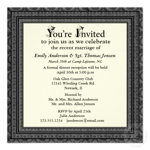 Post Wedding Party Invitation Wording: Post-Wedding Reception Invitation