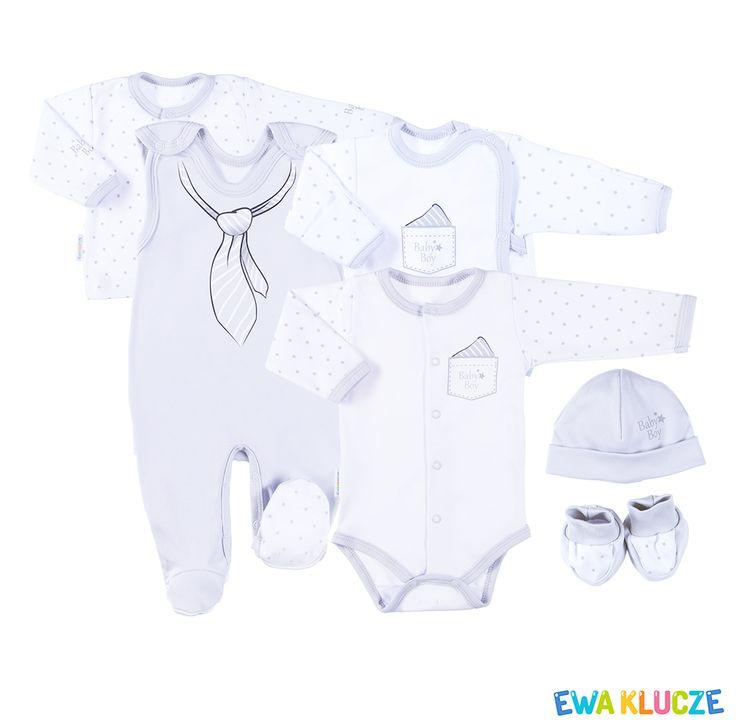 EWA KLUCZE, kolekcja CLASSIC BABY, szary komplet dla chłopczyka, ubranka dla dzieci, EWA KLUCZE, CLASSIC BABY collection, grey baby boy set, baby clothes