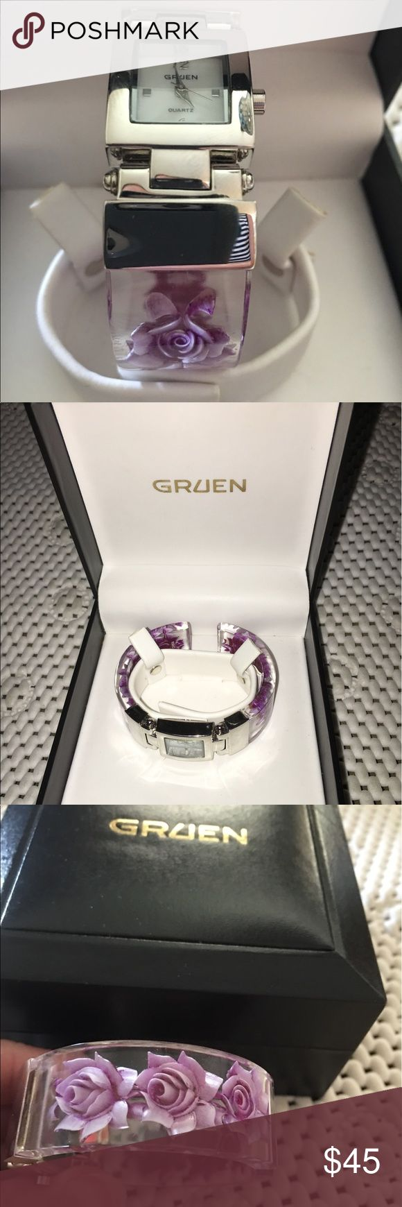 Ladies Gruen Watch Bangle Purple Flowers in Box Beautiful Gruen watch comes in original box. Bangle style bracelet full of purple flowers springs open to fit almost any size wrist. Fresh battery installed and an extra battery included. Excellent condition, rarely worn. Gruen Accessories Watches