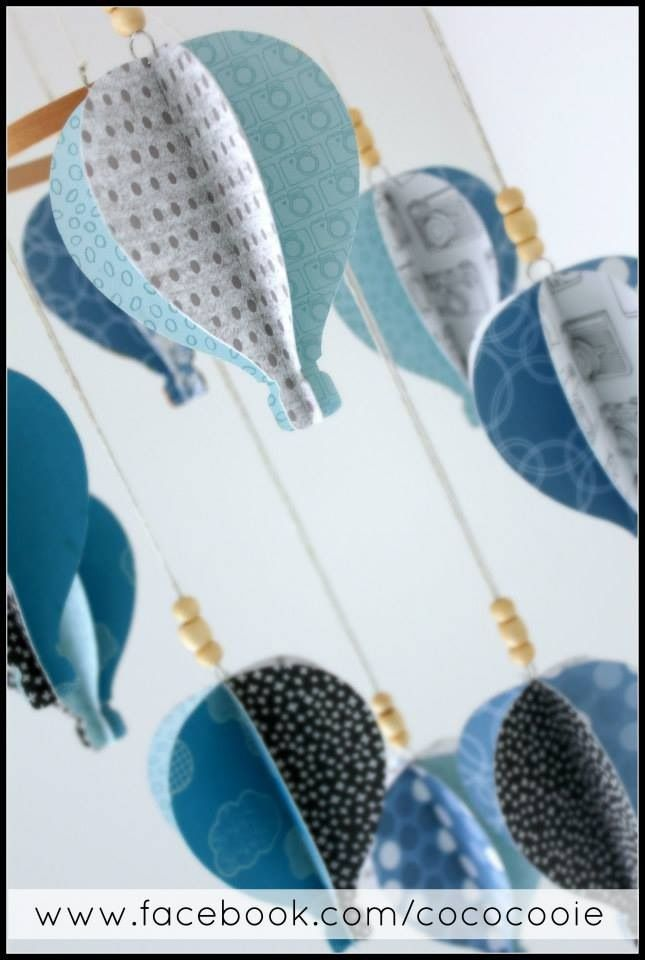 Sky & ocean blue 'Hot Air Balloon Mobile' by CocoCooie