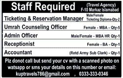 Travel Agency Jobs 2017 In Islamabad For Accountant And Umrah Counseling Officer http://www.jobsfanda.com/travel-agency-jobs-2017-in-islamabad-for-accountant-and-umrah-counseling-officer/