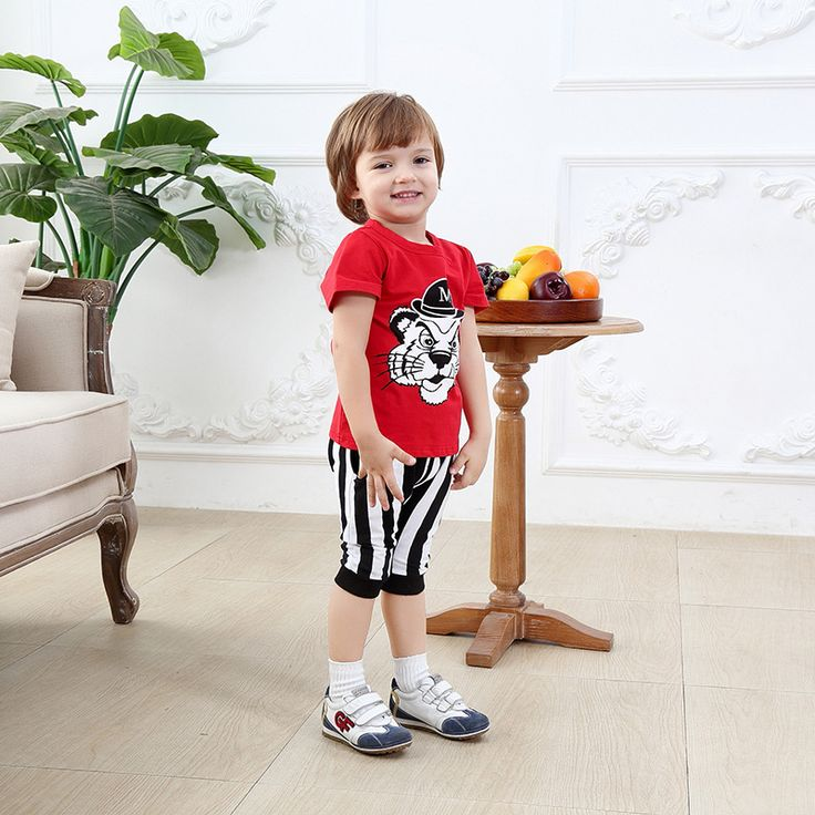 >> Click to Buy << newborn clothing patterns cheap baby boy clothes boys summer short sleeve tiger cartoon red t shirt 2 pcs christening suit 2 age #Affiliate