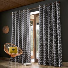 Orla Kiely Linear Stem Charcoal in Ready Made Curtains - Metal Eyelet Style Heading at Seymour's Home