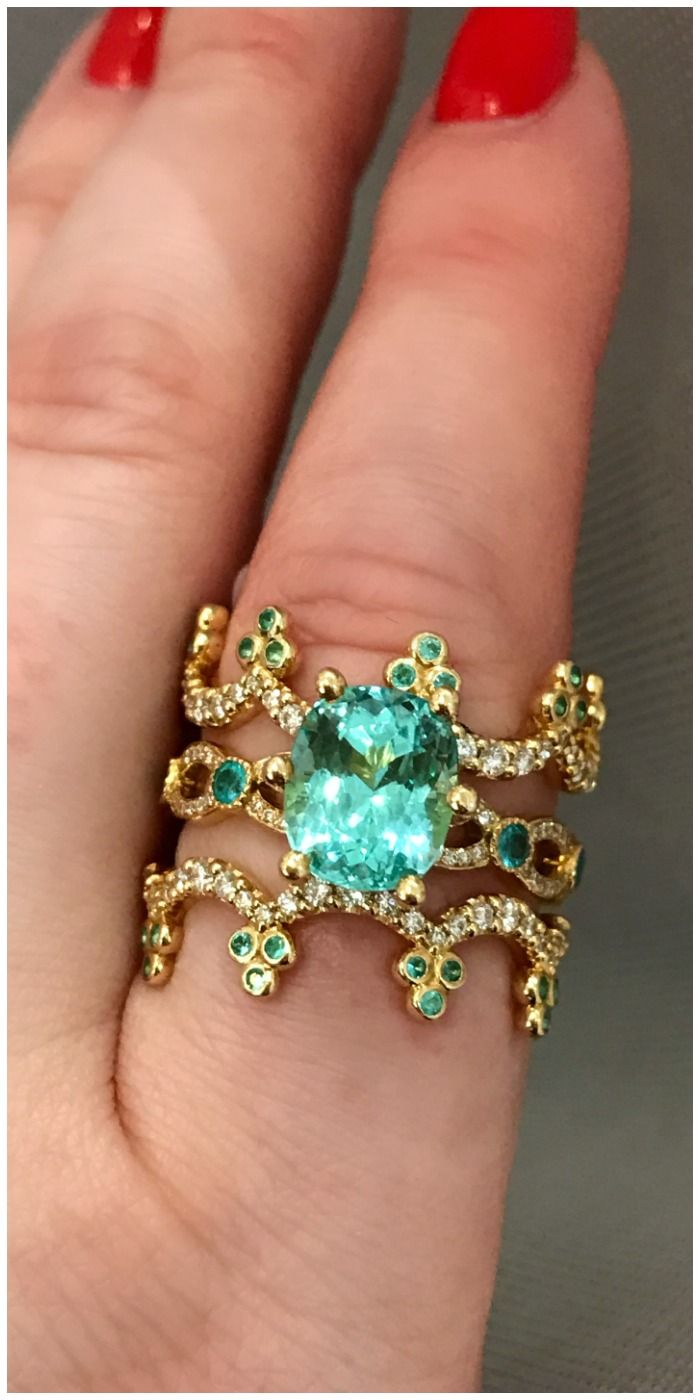 Stunning A Paraiba tourmaline wedding set by Erica Courtney