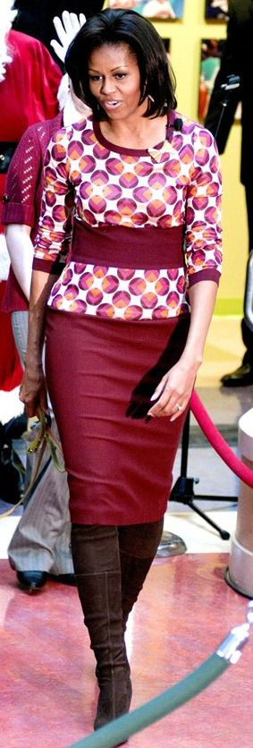 Michelle Obama  http://www.vogue.co.uk/spy/celebrity-photos/2011/05/01/michelle-obama-style---3112008/gallery/705314