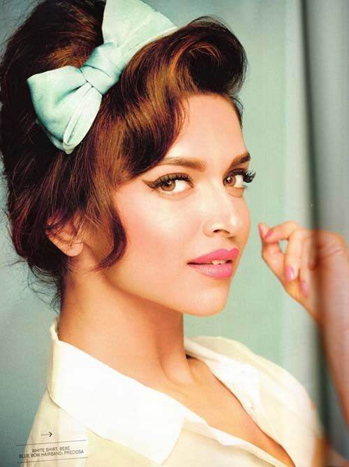 Bollywood actress Deepika Padukone with 60s inspired hair