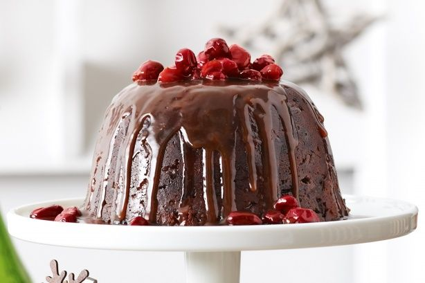 Christmas pudding with cranberry toffee sauce