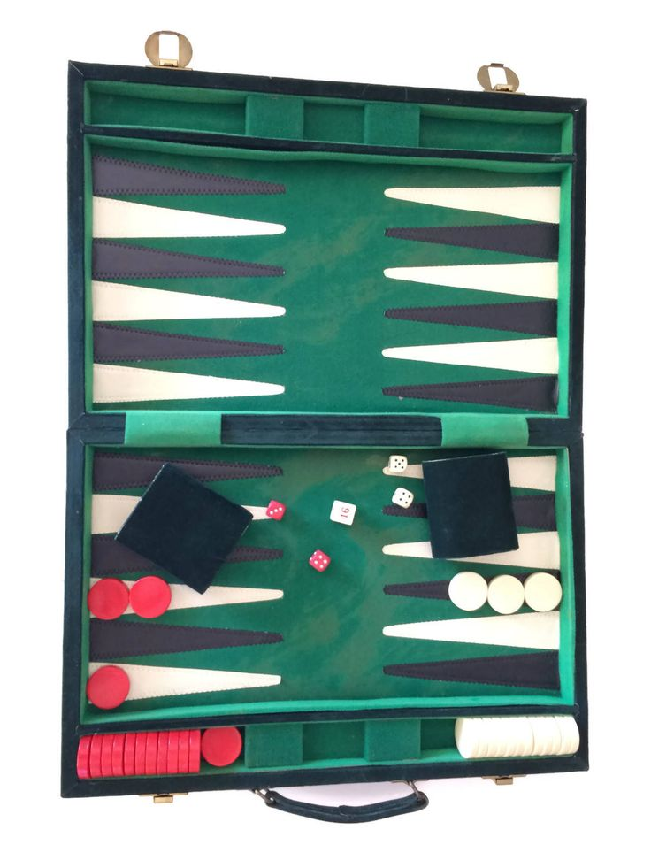 Vintage green velvet portable backgammon game in good condition with some flaws. The outer case has some wear, the inside velvet has some discoloration and wear and many of the chips or checkers have some hairline cracks, one of the red checkers has a chip (see all photos).  A lovely board for Christmas display or light play.  Chips measure 1.4 in diameter Case measures 17.75 long x 12 high x 2.5 deep Weighs 4 lbs