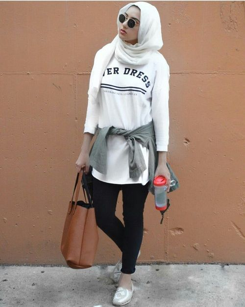 sporty hijab street style- Hijab fashion and Muslim style…