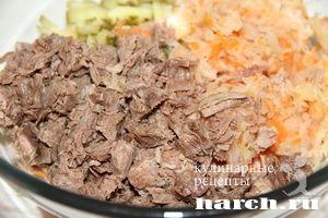 Салат из говядины с квашеной капустой Славянский базар, salaty myasnye salaty