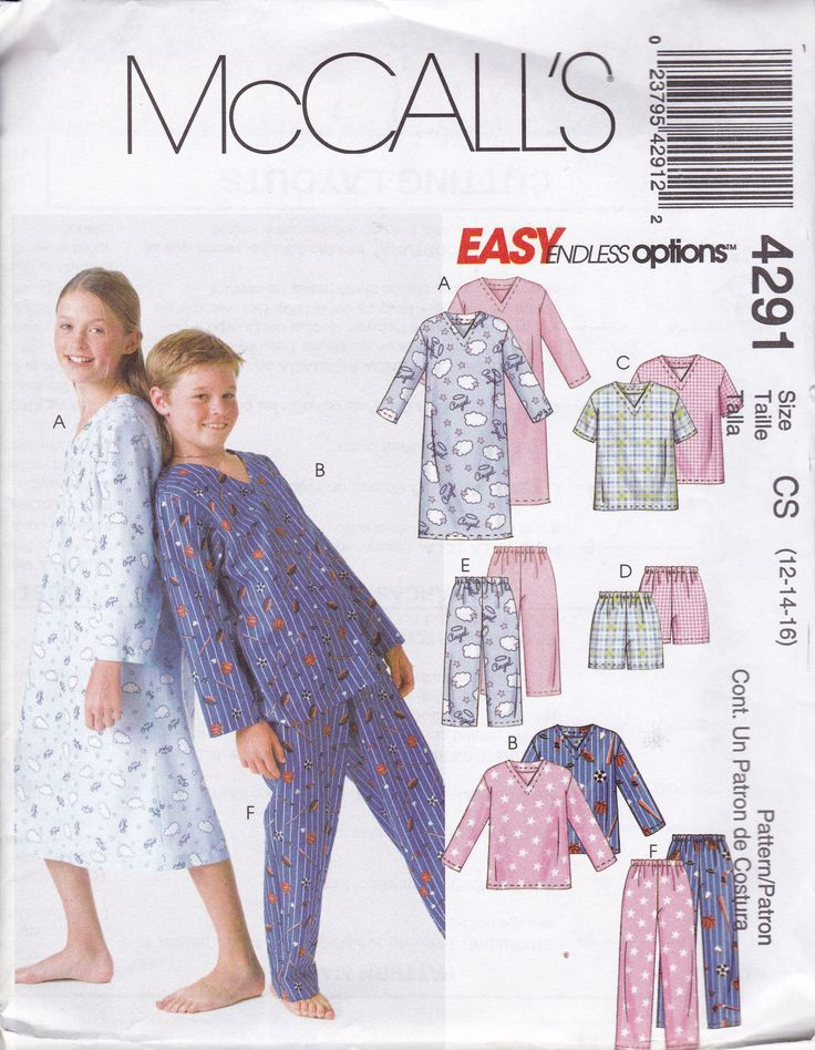 Free Us Ship Sewing Pattern McCall's 4291 Kids Boys Girls Flannel Nightgown Pjs Pajamas Uncut  Top Shorts Pants Size 12 14 16 Easy by LanetzLiving on Etsy