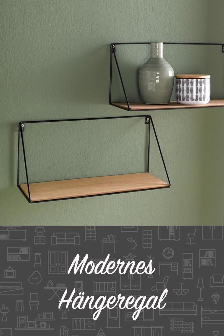 Wandregal Regal Schwarz Metall Holz Natur Design Modern