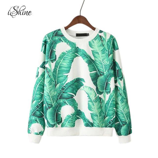 Damska Loose Casual Pullover Bluzy Z Długim Rękawem Liści Palmowych Druk O-neck Zima Jesień Zielona Bluza Z Kapturem Topy Femme