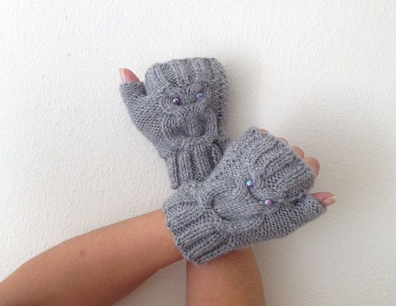 Owl figure grey  Wool Fingerless Gloves Armwarmers  by NesrinArt, $21.00