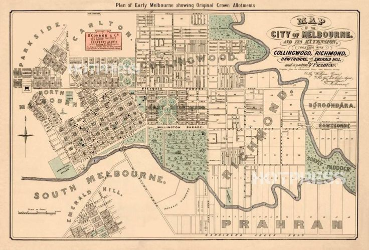 Map of the city of Melbourne 1852