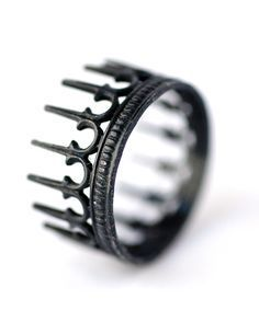 King Crown Ring – Royal King – Oxidized Silver Stackable Ring