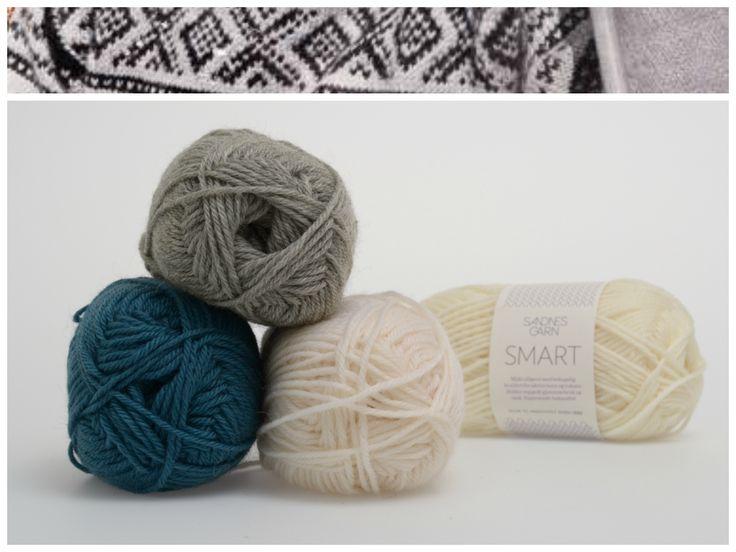 Marius med hvit mønster i garnet Smart  1002, 1042, 6545 #farger #fargekombinasjoner #garn #inspirasjon #marius