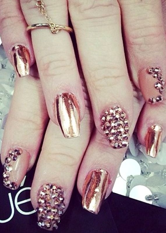 Rose Gold foil wraps and rhinestones