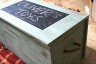 Beautiful Wooden Toy Chest - love the chalkboard square on the top