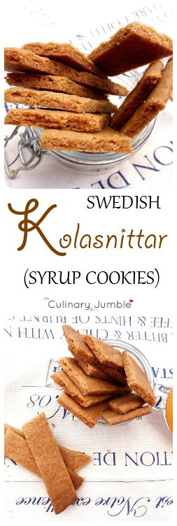 Kolasnittar are Swedish cookies made with syrup. They are amazingly crunchy with a hint of cinnamon and have an unusual shape due to their diagonal cut.