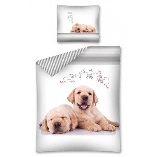 Zaspavajúce psíky biele návliečky na posteľ