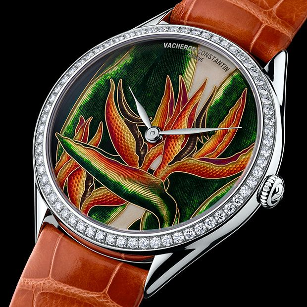 "Wristwatch with cloisonné enamel dial by Vacheron Constantin ""The Queen"" from the Metier d'Art Florilège series. Image Courtesy of Vacheron..."