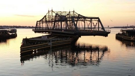 New Bedford, MA - New Bedford/Fairhaven Bridge opening for boat traffic.