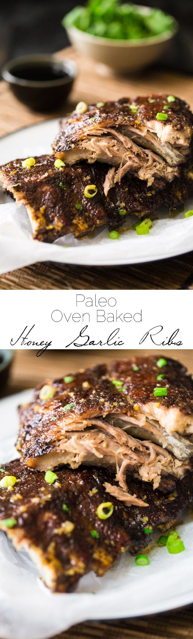 Paleo 5 Spice Honey Garlic Oven Baked Ribs - Sticky, sweet, healthier ribs that are gluten free, Paleo and made in the oven. These fall RIGHT OFF THE BONE! | Foodfaithfitness.com | @FoodFaithFit