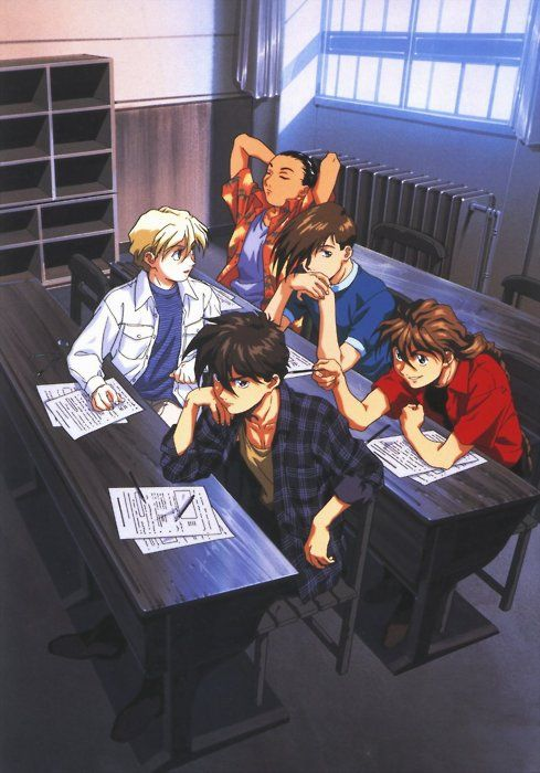 More of the boys from Gundam Wing.  I love how Duo is poking Heero with his pencil!  ^^