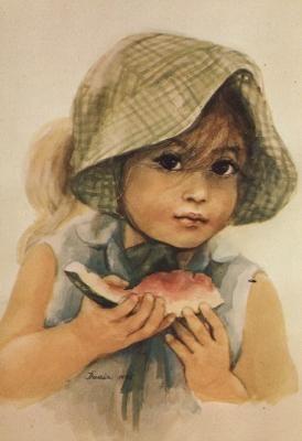 Portret dziewczynki ze starej pocztówki 15.
