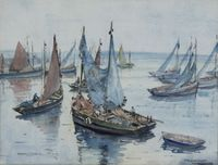 """Lot No 558 Hilary Cobbet, watercolour, a study of sardine boats off Bouranenez, signed and inscribed indistinctly 9 1/2"""" x 12 1/2"""", sold for £100"""
