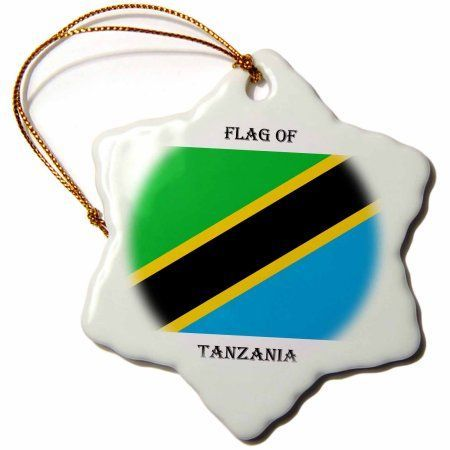 3dRose Flag of Tanzania, Snowflake Ornament, Porcelain, 3-inch