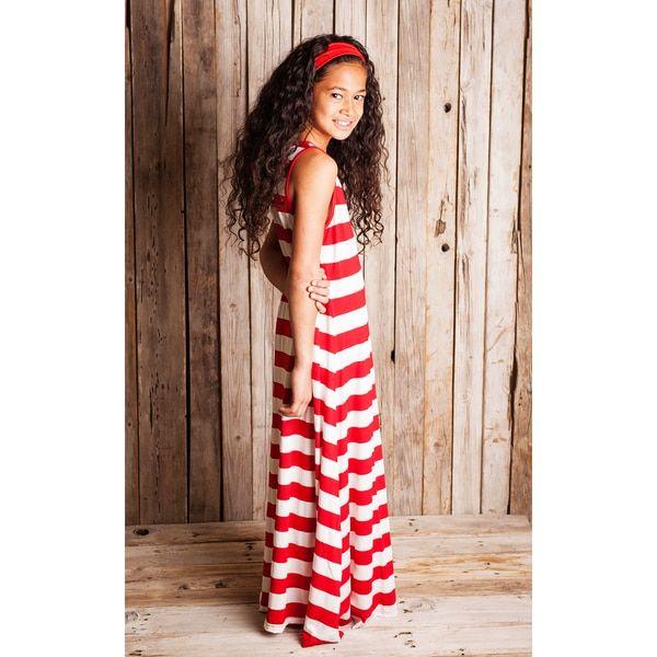 Red Striped Maxi Dress