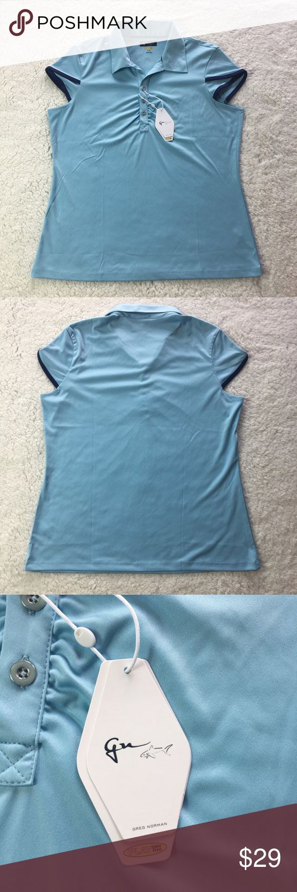 """NEW Greg Norman Women's Golf Shirt NWT Size Large New with tags Greg Norman woman's golf shirt. MSRP $70. 100% polyester.  Length is 25"""" Armpit to armpit is 20""""  Make me an offer! Greg Norman Tops Tees - Short Sleeve"""