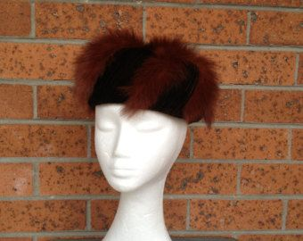 1950s vintage ladies' pillbox hat. Ruffled dark chocolate brown velvet and mink fur tail hat. Made by Emells - true vintage glamour - Modball vintage - Etsy