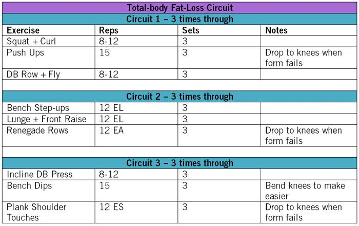 Weight training circuit for weight loss
