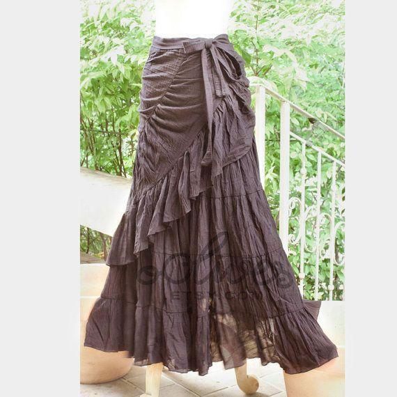 Tie Waist Cotton Maxi Wrap Skirt in Dark Brown by oOlives $41.20