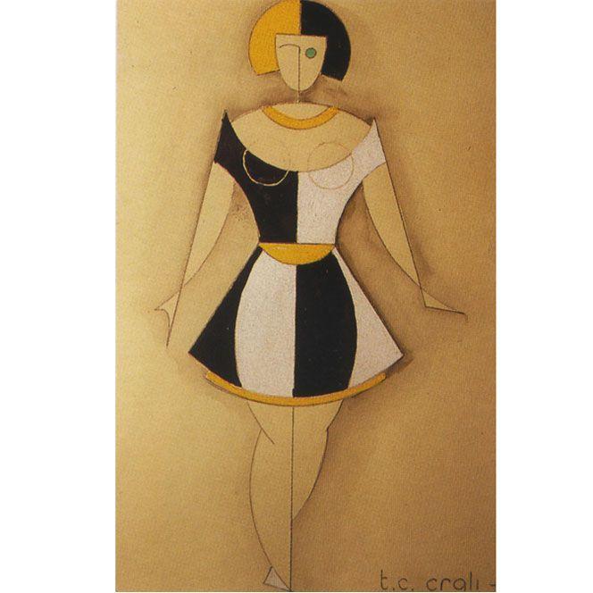 ¤ Tullio Crali. Design for a dress. 1932. A futuristic fashion show from the past.