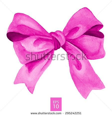 Pink gift bow. Watercolor drawing. Vector illustration - stock vector
