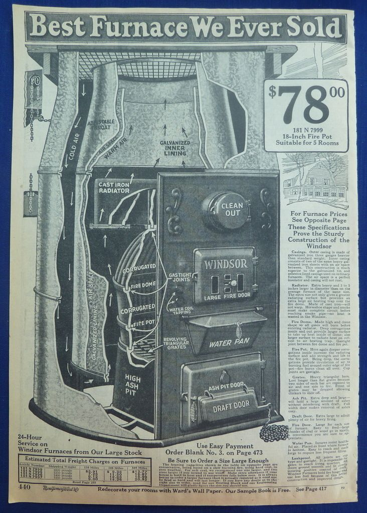 Original Vintage Antique 1924 5 Wards Ads for Coal Heaters Furnaces Home Heating  ...had a coal furnace till 1964