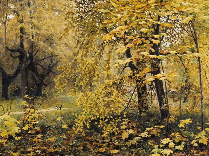 Ilya Ostroukhov's «Golden Autumn» was painted at Abramtsevo, an estate owned by Savva Mamontov. The locality was painted by many of the artists who formed the Abramtsevo Circle. // Ilya Ostroukhov, «Golden Autumn», 1886
