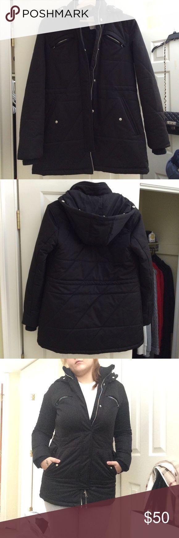ZARA Winter coat Beautiful black Zara winter coat size M. Fits a little snug. Zara Jackets & Coats