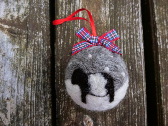Handmade Needle Felted Bauble Belted galloway cow (beltie) Christmas Tree Decoration made from British Shetland sheep wool