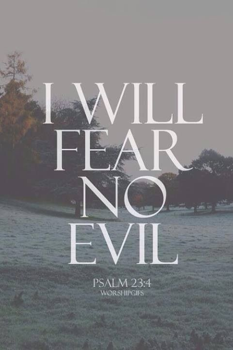 Even though I walk through the darkest valley,[a] I will fear no evil: for you are with me; your rod and your staff they comfort me. Psalms 23:4