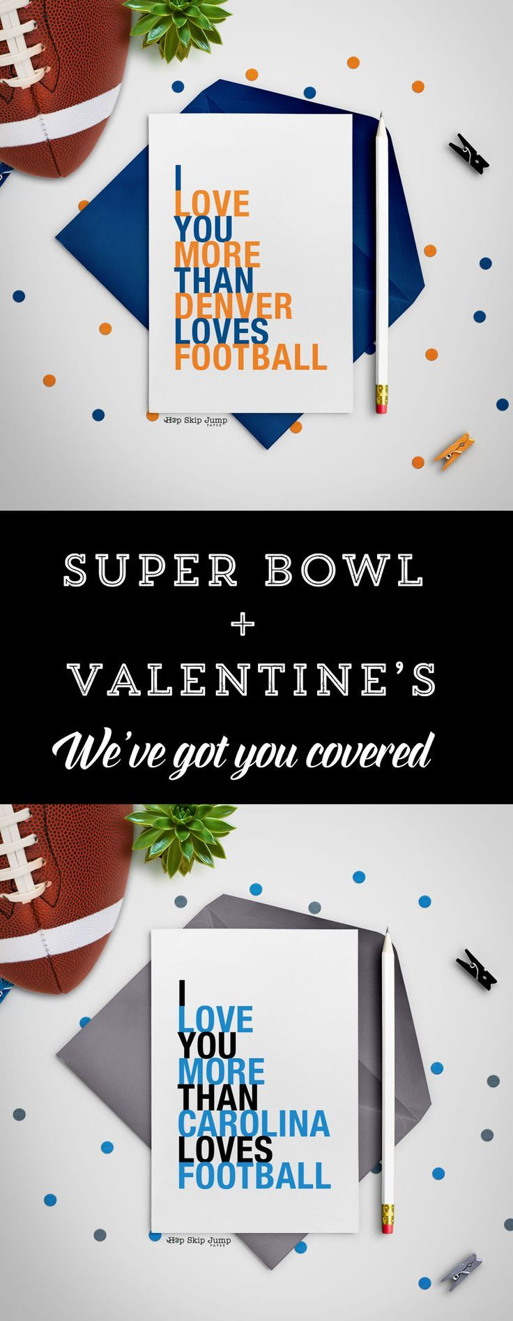 """Broncos? Panthers? Who are you rooting for this weekend?  After the game is all said and done, grab an """"I love you more than _____"""" victory card and send it to a loved one. Whether in sincerity or in a friendly rivalry, let HopSkipJumpPaper provide meaningful entertainment for you and your family long after the game is over."""
