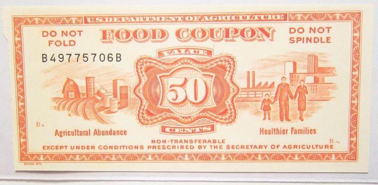 FOOD STAMP COUPON 50 CENTS U.S. Dept. Agriculture Vintage Series 1973 Obsolete