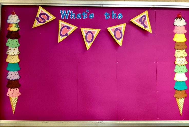"""What's the Scoop"" news bulletin board- Kids can decorate ice cream scoops with the favorite flavor!"