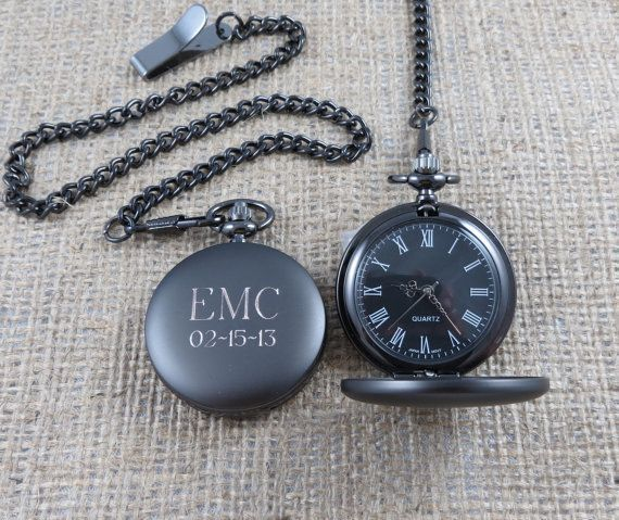 Personalized Pocket Watch - Monogrammed - Gifts for Men - Groomsmen Gifts - Groom (775) via Etsy